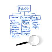 A written out strategy for a blog plan written with a blue marker isolated on Stock Photos