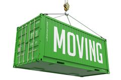 Stock Illustration of Moving - Green Hanging Cargo Container.