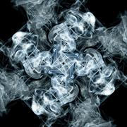 abstract smoke tile pattern on black background in square frame - stock photo