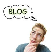 A young white male adult thinks he should start a blog. isolated on white bac Stock Illustration