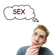 Stock Illustration of a young white male adult thinks about sex. isolated on white background.