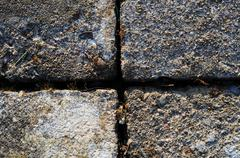 A gray brick surface texture that is worn and old Stock Photos