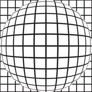 A grid of squares distorted and bulging black and white Stock Illustration