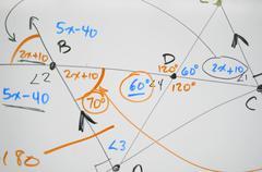 complex math on whiteboard - stock illustration