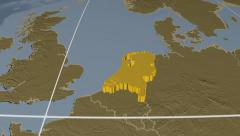 Netherlands extruded. Bumps. Graticule. Stock Footage