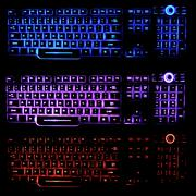 transparent, blue, pink, and red backlit keyboards that glow in the dark, ill - stock illustration