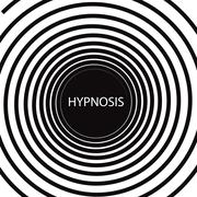 The word hypnosis inside a consuming hypnotic black and white spiral Stock Illustration