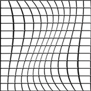 distorted 3d bent fence grid on a white background - stock illustration