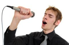 karaoke singer - stock photo