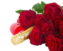 Valentine's day  dark red  roses and hearts Stock Photos