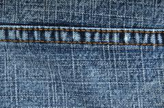 Close up abstract of blue jeans stitching Stock Photos