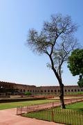Outside Architecture of the Red Fort and garden Stock Photos