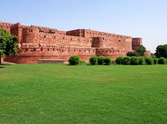 Outside Architecture of the Red Fort - stock photo