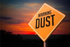 Dust on Warning Road Sign. Stock Illustration