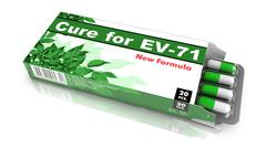 Cure For EV-71, Green Open Blister Pack. - stock illustration