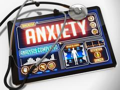 Anxiety on the Display of Medical Tablet. - stock illustration