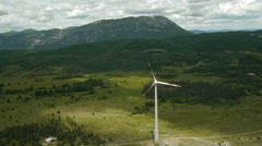 Aerial view Tilt-down Over Wind turbine Stock Footage