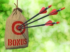 Bonus - Arrows Hit in Red Target. Stock Illustration