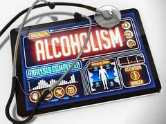 Alcoholism on the Display of Medical Tablet. - stock illustration
