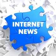 Internet News on Blue Puzzle. - stock illustration