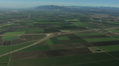 Aerial California USA Farming crops agricultural landscape Stock Footage