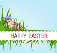 Easter eggs and happy easter - stock illustration