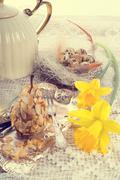 Almonds pear and tea - vintage Stock Photos