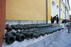 Ancient artillery Cannons In The Moscow Kremlin, Russia - stock photo