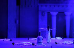 Fires of Anatolia. Performance in the amphitheater of Anatolia. - stock photo