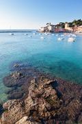 seascape in a italian small harbour. - stock photo