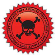 pirate copy label with scull, vector illustration - stock illustration