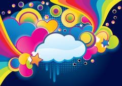 Stock Illustration of Love background of funky splash collage with cloud, abstract vector illustration