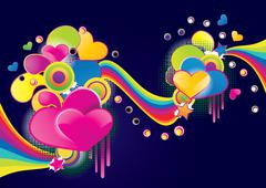 Love background of funky splash collage, abstract vector illustration Stock Illustration