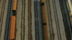 Close Aerial plan view of train wagons depot Stock Footage
