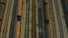 Close Aerial view of Cargo train depot Stock Footage
