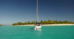Sailing into beautiful Sandy Cay Island BVI 3 of 3 - stock footage