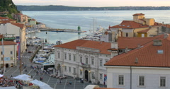 Tartini square - is the main square of Piran, 4K Stock Footage