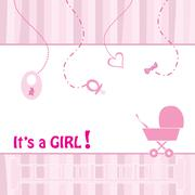 birth announcement card for baby girl, vector illustration - stock illustration
