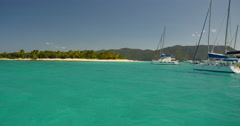 Sailing into beautiful Sandy Cay Island BVI 1 of 3 Stock Footage