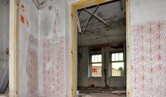 Demolition of building - stock photo