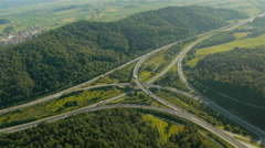 Higher Aerial view, Left panning over Freeway Junction - stock footage