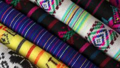Diagonal Overhead Dolly Traditional Mexican Fabrics Stock Footage
