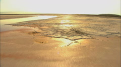 Aerial tidal sediment salt Ponds evaporation mudflats USA - stock footage