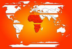 Stock Photo of Sliced world map white continents with red warm Africa