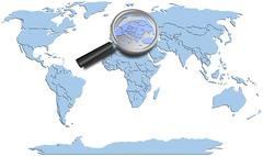 World map blue continents with Europe magnified - stock photo
