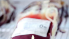 Mexico, 2014: CLOSE UP-HANDHELD SHOT. Blood bags in a refrigerator. Stock Footage