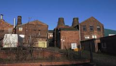 Buildings architecture old Victorian street factory and bottle kiln Stock Footage