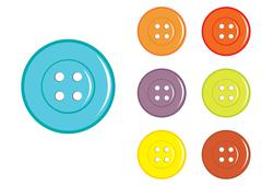 vector classic sewing buttons in various colors - stock illustration