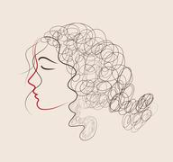 Sketch of a beautiful girl for Happy Women's Day Stock Illustration