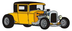 Yellow hot rod Stock Illustration